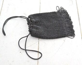1920s Black Beaded Reticule Purse