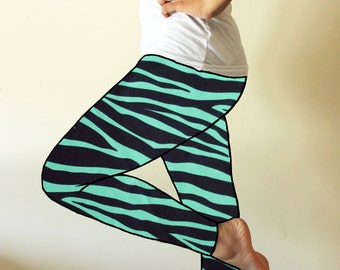 Made to order leggings - Zebra animal print dark teal and black - available in sizes XS, S, M, L, XL and custom sizes - kezbirdie
