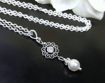 Crystal and Pearl Wedding Necklace, Pearl Pendant Necklace, Silver Filigree Pearl Necklace, Bridesmaids Necklace, Bridal Filigree Necklace