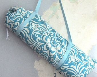 Yoga bag, Yoga mat bag, Yoga mat carrier - Caribbean turquoise and cream - Medium