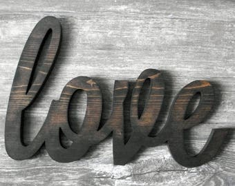 Wooden Love Sign Dark Walnut Stained Wood Love Sign