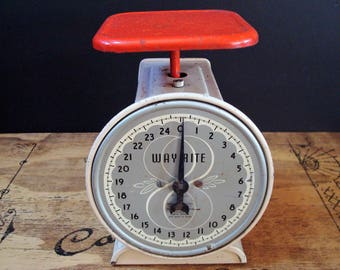 Vintage Red & White 25 Lb. WAY RITE Kitchen Utility Scale with Square Platform by Hanson, Chicago, IL, ca. 1950's