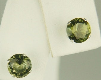 MothersDaySale Moldavite Faceted Stud Earrings 6mm Round 1.50ctw  Rare And Beautiful Natural And Untreated
