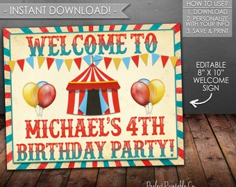 Carnival Welcome Sign, Circus Welcome Sign, Carnival Birthday Sign, Circus Birthday Sign, Boy, Red and Blue, Printable Instant Download #553