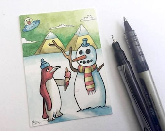 Penguin snowman pyramids snow alien wall art miniature art ATC Gift Art Trading Card Whimsical Original ART ACEO Watercolor - Katie Hone