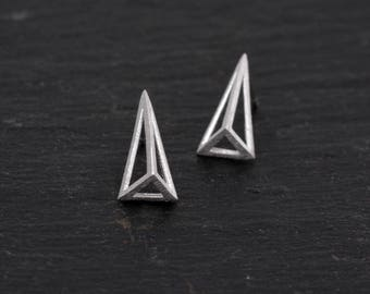Sterling Silver Geometric Triangle Pyramid Spike Stud Earrings,  Textured Finish  H25