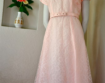 1950's pink lace party dress