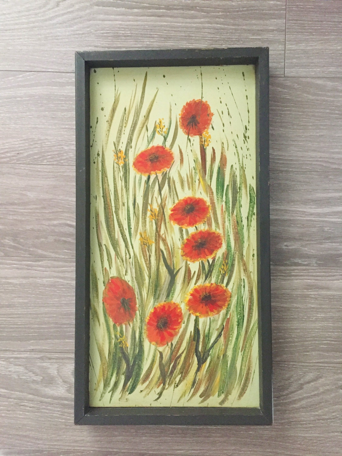 Floral Painting Vintage Painting Red Flowers Art Poppy
