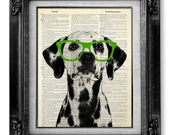 DALMATIAN Dog Art, Book Art Print, OFFICE Decor, Dalmatian Print, Boys  Bathroom Decor, GEEKERY Poster, Office Artwork, Fun Dog Green Glasses
