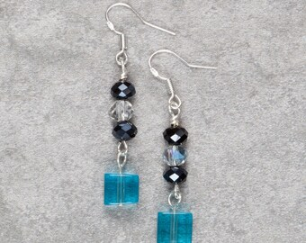 Blue Glass Cube Drop Earrings (007)