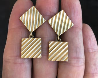 "Retro Yellow Gold ""Cufflink"" Earrings (Vintage)"