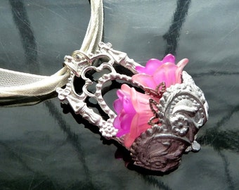 Wall Flower Bouquet Necklace Victorian basket with purple n pink flowers closeout sale OOAK jewelry