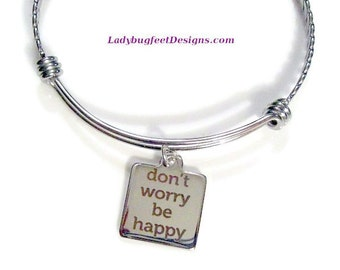 Don't Worry Be Happy twisted stainless steel bangle Bracelet, One Size Fits Most