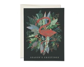 "Greeting Card - ""Seasons Greetings"" - Flamingo Wreath"