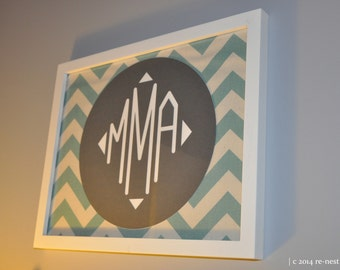 the circle chevron framed monogram - wedding gift/housewarming/new home gift/realtor closing gift/dorm room decor/engagement gift