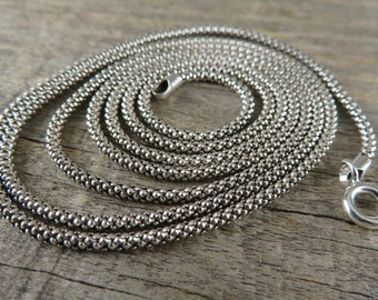 Sterling Silver Necklace Chain - Bohemian Necklace Chain - Handmade Sterling Silver Necklace Chain With Clasp - 18 Inch Chain - TC1-18