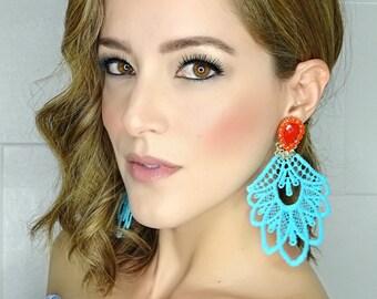 Boho Fashion, Chandelier Earrings, Multicolor Earrings, large stud Earrings, Long Lace Earrings, Jewelry designs, Statement Earrings, Boho