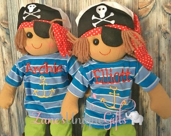 Pirate Rag Doll Personalised / Pirate / Embroidered Custom Rag Doll / Fabric Doll /  Boy Gift / First Doll / Custom Doll / Personalised baby