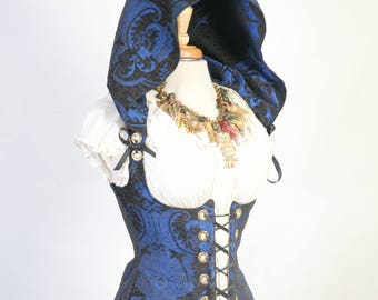 Waist 23 to 25 Blue & Black Medallion Hooded Vixen Corset