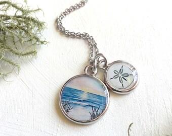 Beach Necklace | Ocean Jewelry | Sand Dollar Necklace | Art Jewelry