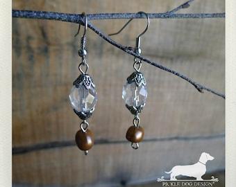 Crystal Drops. Dangle Earrings -- (Vintage-Style, Glass, Pearl, Brown, Elegant, Feminine, Bridesmaid Jewelry, Romantic, Gift Under 10)