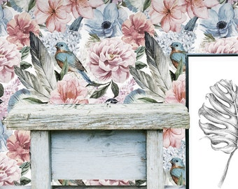 Floral Wall Mural -  Flower Self Adhesive Fabric Wallpaper -  Removable, Repositionable, Reusable. EASY PEEL & STICK !! R0009