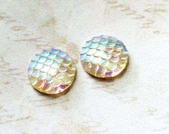 Mermaid Scale Cabochons 20mm Cabochons White Clear Scales Round Cabochons Dragon Scale Cabochons Flat Back Embellishments 4 pieces