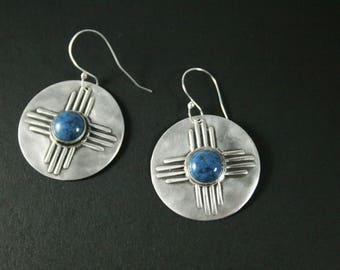 Large Zia Sun Symbol Sterling Silver Earrings With Denim Lapis