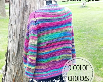 Mother's Day Gift for Mom - Crochet Festival Cardigan Sweater - Colorful Striped Boho Sweater