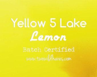 LEMON LAKE FD&C Yellow 5 Lake, 42% Dye Load, Batch Certified, Powdered Cosmetic Colorant