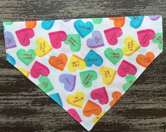 Valentine's Day Collar Bandana Dogs and Cats - Slide on Collar Sleeve - Pet Scarf Bandana / Valentine's Candy Conversation Hearts