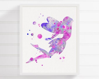Purple Fairy Art Print, Fairy Watercolor, Fairytale Nursery, Nursery Wall Decor, Baby Girl Nursery, Baby Shower Gift, Watercolor Nursery
