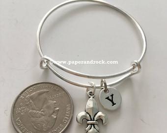 KIDS SIZE - Fleur de lis initial bangle, Louisiana bracelet, fleur de lis bracelet, Louisiana jewelry, New Orleans bracelet, fleur-de-lis