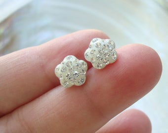 1 pair, 9mm, Sterling Silver diamond cz ear stud, Ear Nuts Included, EP-0054