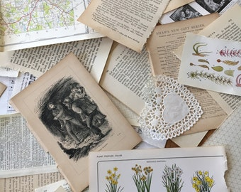 Vintage Ephemera Scrap Pack for scrapbooking, junk journal & craft projects