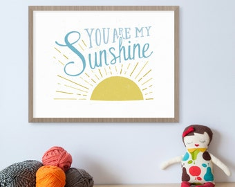 You Are My Sunshine Wall Art, Nursery Print, Sunshine Art, Yellow Nursery Decor, Sunshine Birthday, Kids Wall Art, Illustration Print