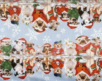 Christmas dog reflections 100% cotton fabric, sold by the yard  #219