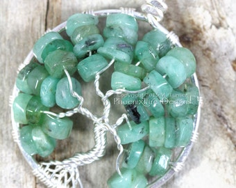 Natural Emerald Tree of Life Pendant Green Gemstone Necklace Silver Wire Wrapped Jewelry May Birthstone Gift Phoenix Fire Designs