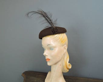 Vintage Hat 1950s Brown Felt Topper with Tall Feathers, Bullock's Wilshire