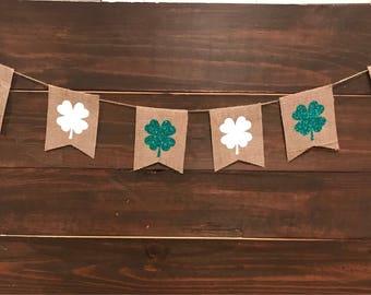 St patricks day banner, clover pennants