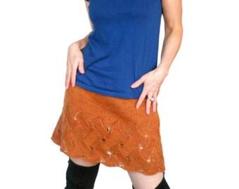 Jupe en laine. Tricot dentelle. Jupe orange. Jupe tricotés à la main. Jupe en dentelle. Jupe courte. Jupe d'hiver. Jupe en laine Womens
