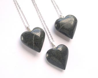 Black Marble Necklace Black Heart Necklace Marble Pendant Stone Heart Stone Necklace Black Marble Heart Jewelry Black Stone Jewelry Silver