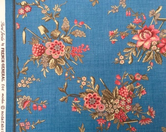 Rural Jardin bouquets denim blue French General moda fabrics FQ or more