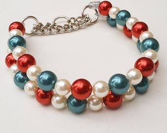 Christmas Double Chunky Ivory Pearl Dog Collar, Buckle Collars, Martingale Collars, Dog Pearls UNBREAKABLE GUARANTEE!