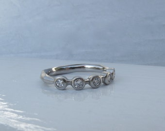 5 stone bezel set diamond ring palladium wedding or anniversary band