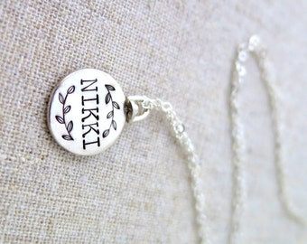 Personalized Double-Sided Swivel Pendant • Geometric Necklace • Layering Jewelry • Initial • Minimal • Date • Sterling Silver • Twins