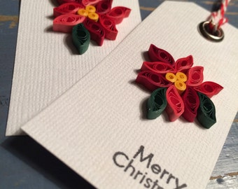 Set of 2 Quilled Poinsettia gift tags