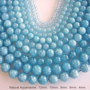 SALE. Natural Aquamarine Bead Strands, Round, Aquamarine, 12mm, 10mm, 8mm, 6mm, 4mm, Hole: 1mm; about 15inch. (BD-A336-338)