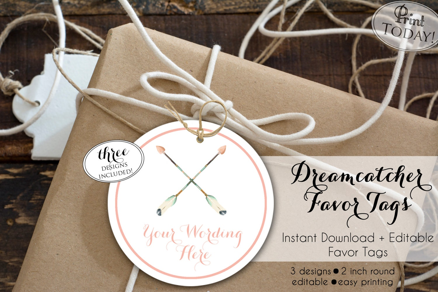 INSTANT DOWNLOAD - Dream Catcher Favor Tag - Boho Arrow Feather Pow ...