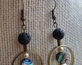 moon shadow earrings, shell